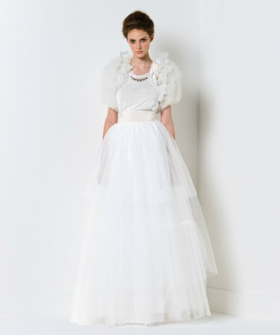 Tulle ballgown wedding dress with fur bridal shrug