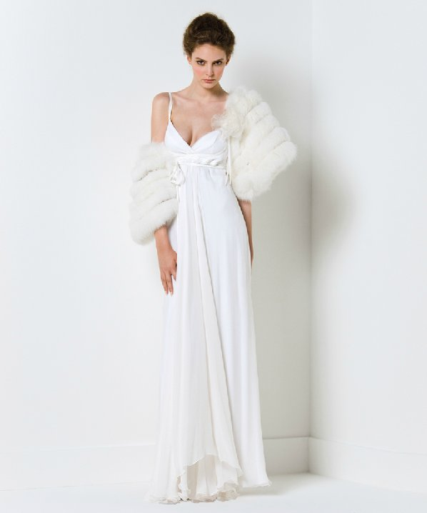 Spaghetti strap wedding dress with fur bridal shrug for Wedding dress with shrug