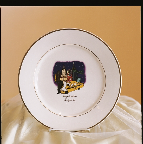 Cartoons Wedding Painted Plate