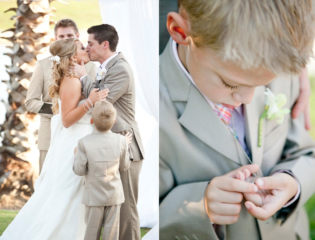 Beach Bride And Groom Kiss At Wedding Ceremony Alter