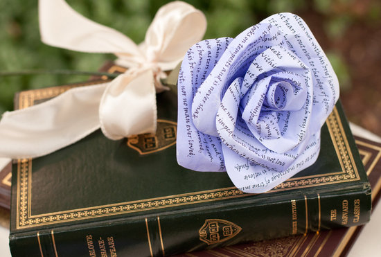violet book page handmade flower for the ceremony