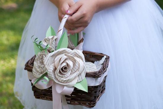 flower girl basket with book page rosettes