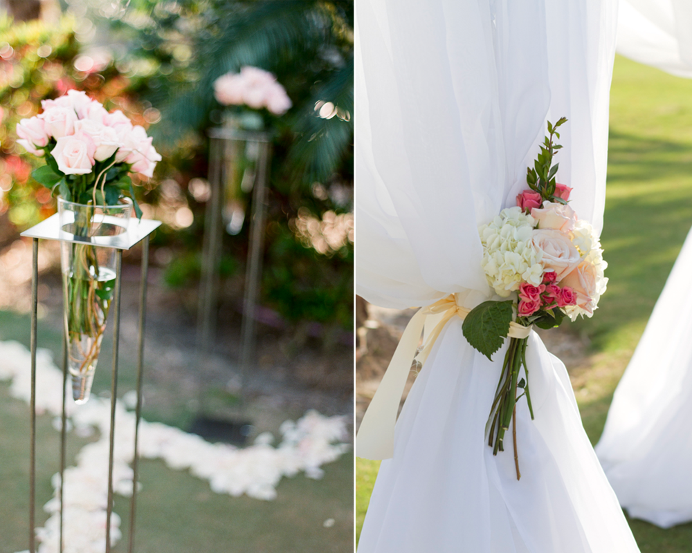 Outdoor Wedding Flower Ideas For A Beach Wedding: Romantic Outdoor Wedding Ceremony Decor, Ivory And Pink