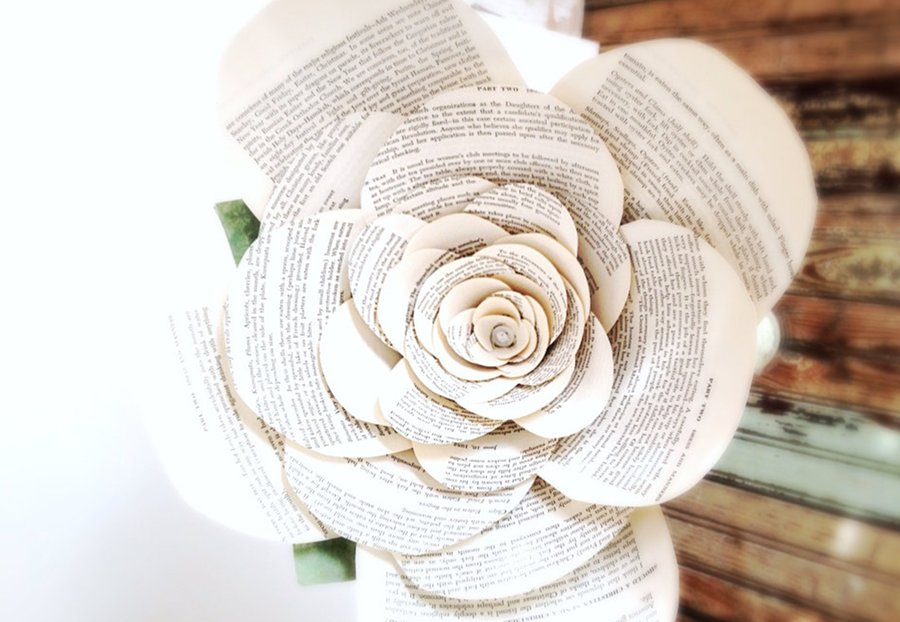 Intricate Book Page Handmade Wedding Flowers