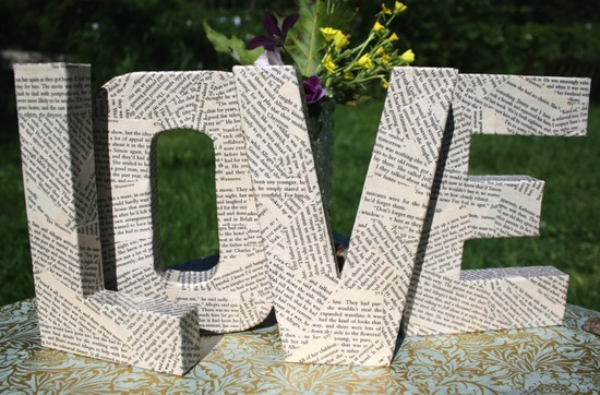 book page LOVE wedding sign