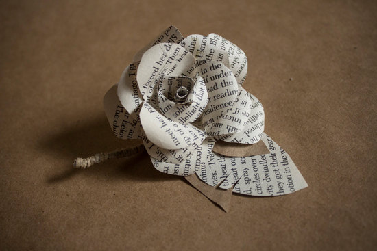 eco friendly grooms boutonniere made from book pages kraft paper and burlap