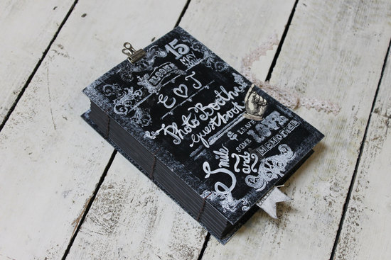 novel inspired chalkboard wedding guest book