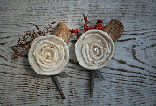 fall wedding boutonnieres with book page petals