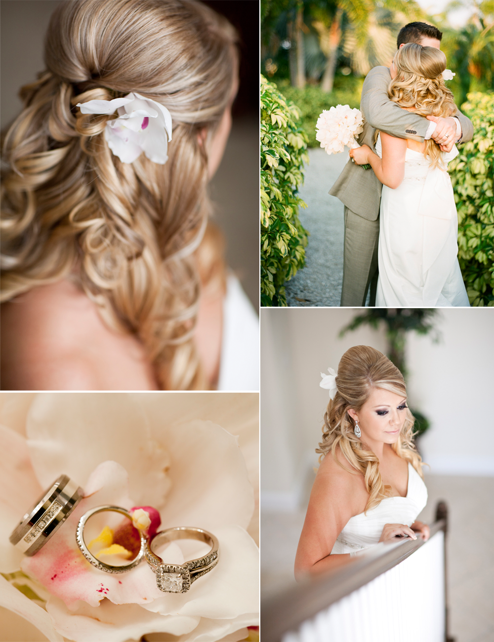Outdoor wedding in Florida- bride wears half-up wedding hairstyle ...