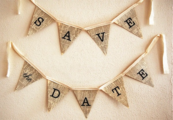 save the date wedding banner made from vintage book pages