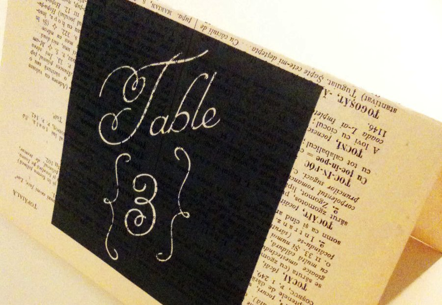 Tented wedding table numbers from old book pages