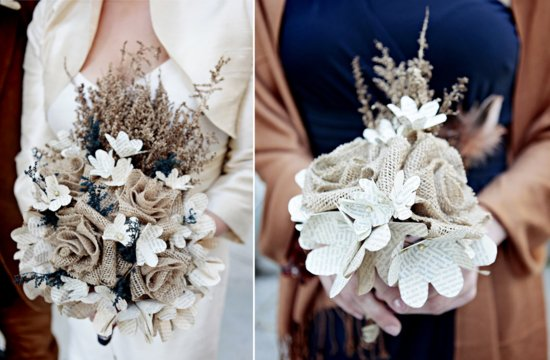 Burlap and book page wedding bouquets