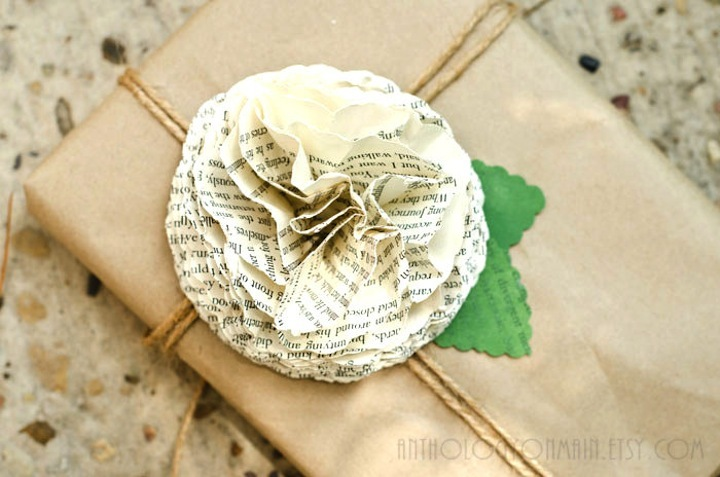 book page rosette to adorn wedding reception place settings