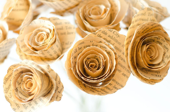 alternative wedding flowers made from Wizard of Oz book pages