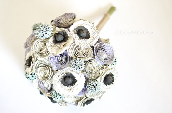 eco friendly paper flowers wedding bouquet Jane Austen inspired