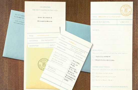 pastel blue yellow and ivory vintage library wedding invitations