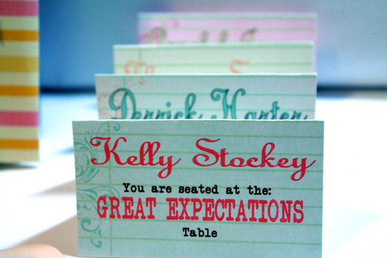 Famous Novel Wedding Escort Cards