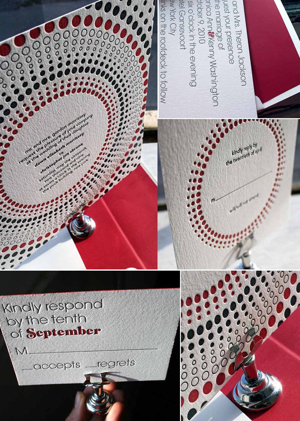 Red and ivory letterpress wedding invitations