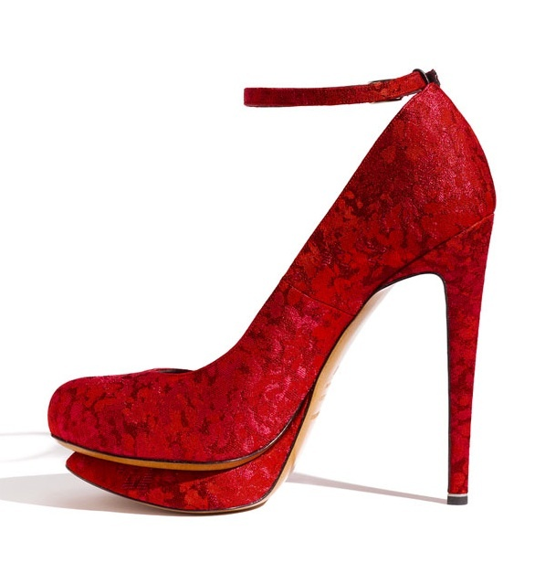 Sky high bridal heels in crimson red