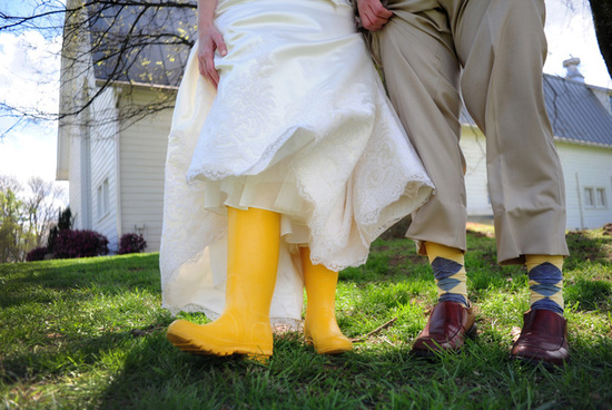 Bright Yellow Rubber Bridal Boots
