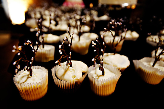 Rustic cupcakes with mini branches