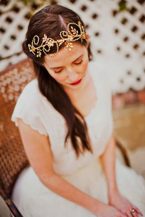 swirling gold wedding headpiece