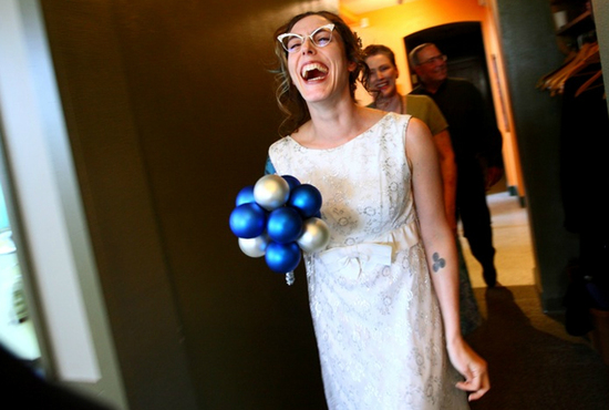 Offbeat Bride with blue & silver bulb bridal bouquet