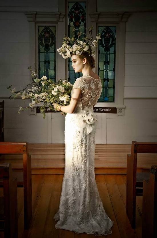 photo of Claire Pettibone wedding dress inspiration style Mystere