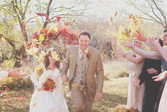 photo of fall wedding exit outside