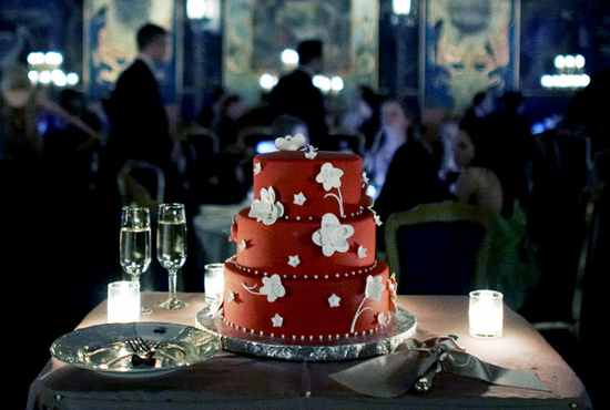 Bright Red Offbeat Wedding Cake