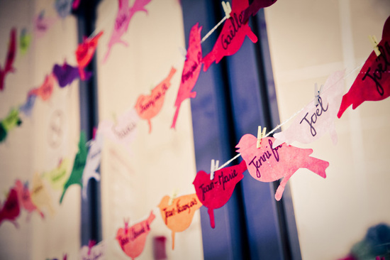 DIY Lovebird Reception Escort Cards
