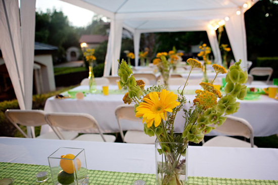 DIY Daisy Lemon and Lime Wedding Reception Decor