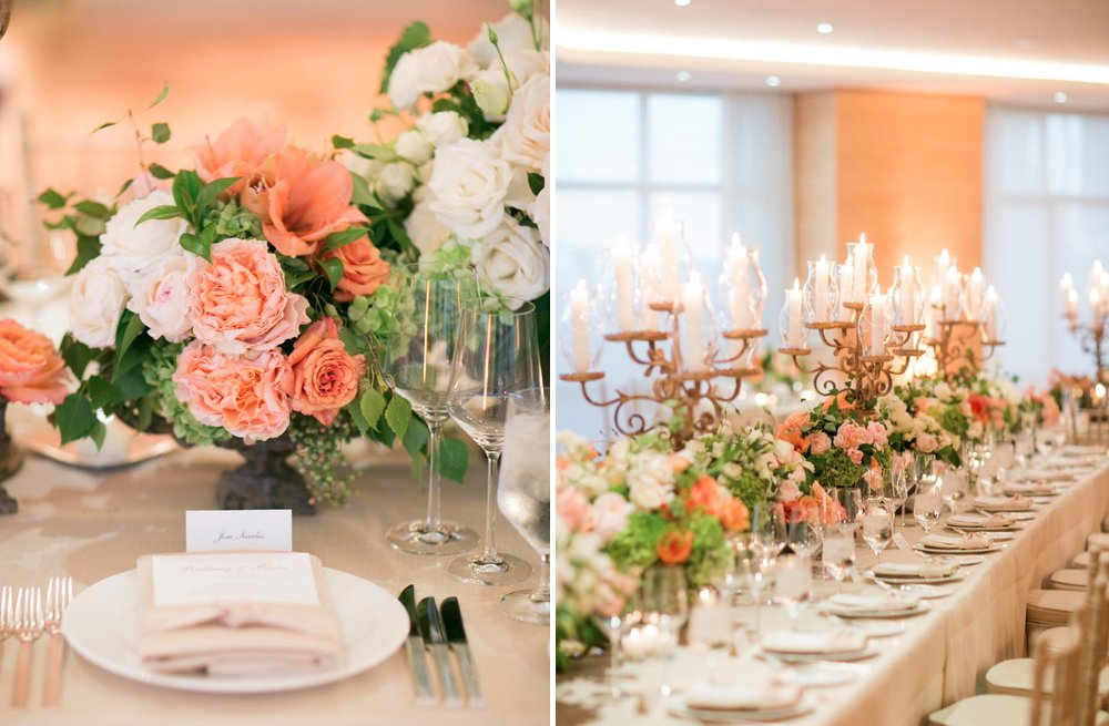 Peach And Ivory Romantic Wedding Reception Centerpieces