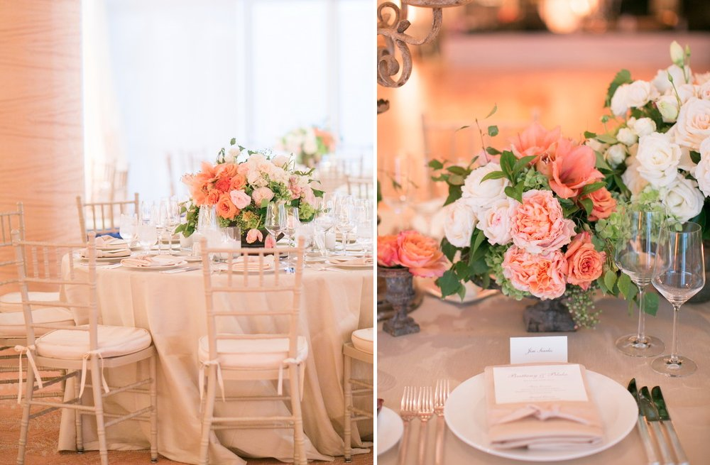 Peach And Ivory Romantic Wedding Reception Centerpieces With Cream