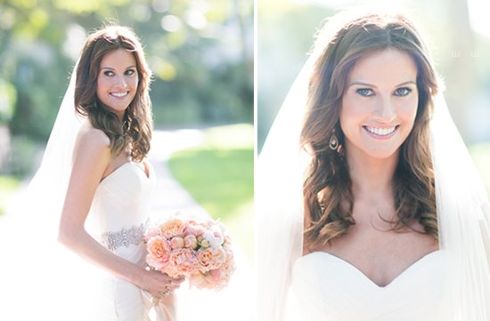 Gorgeous California bride with her romantic peach bridal bouquet