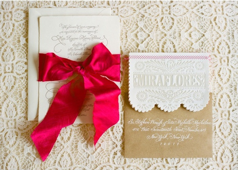 Wedding Invitation with Hot Pink Ribbon