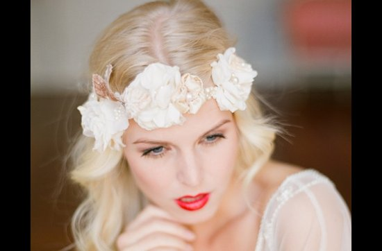 Bold red lips make a dramatic wedding statement