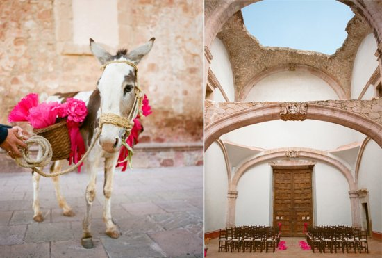 Hot pink and tan destination wedding in Mexico