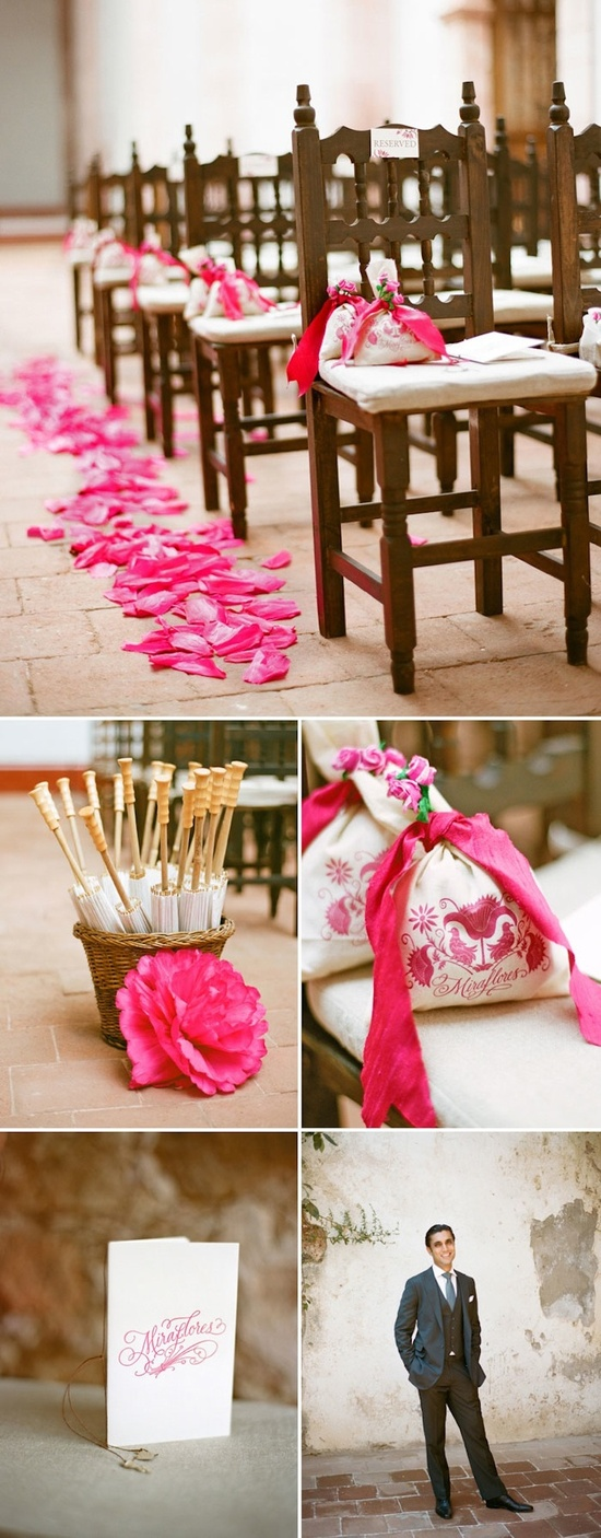 hot pink wedding ceremony decor