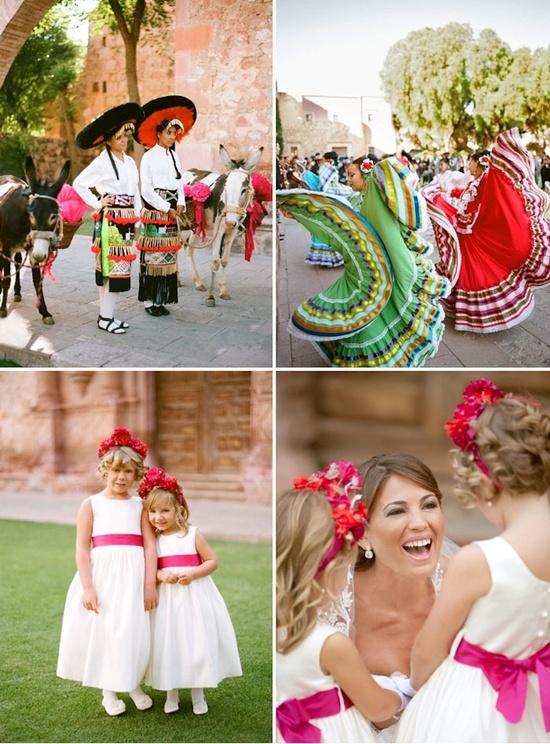 Bright destination wedding in Mexico, sweet flower girls and festive entertainment