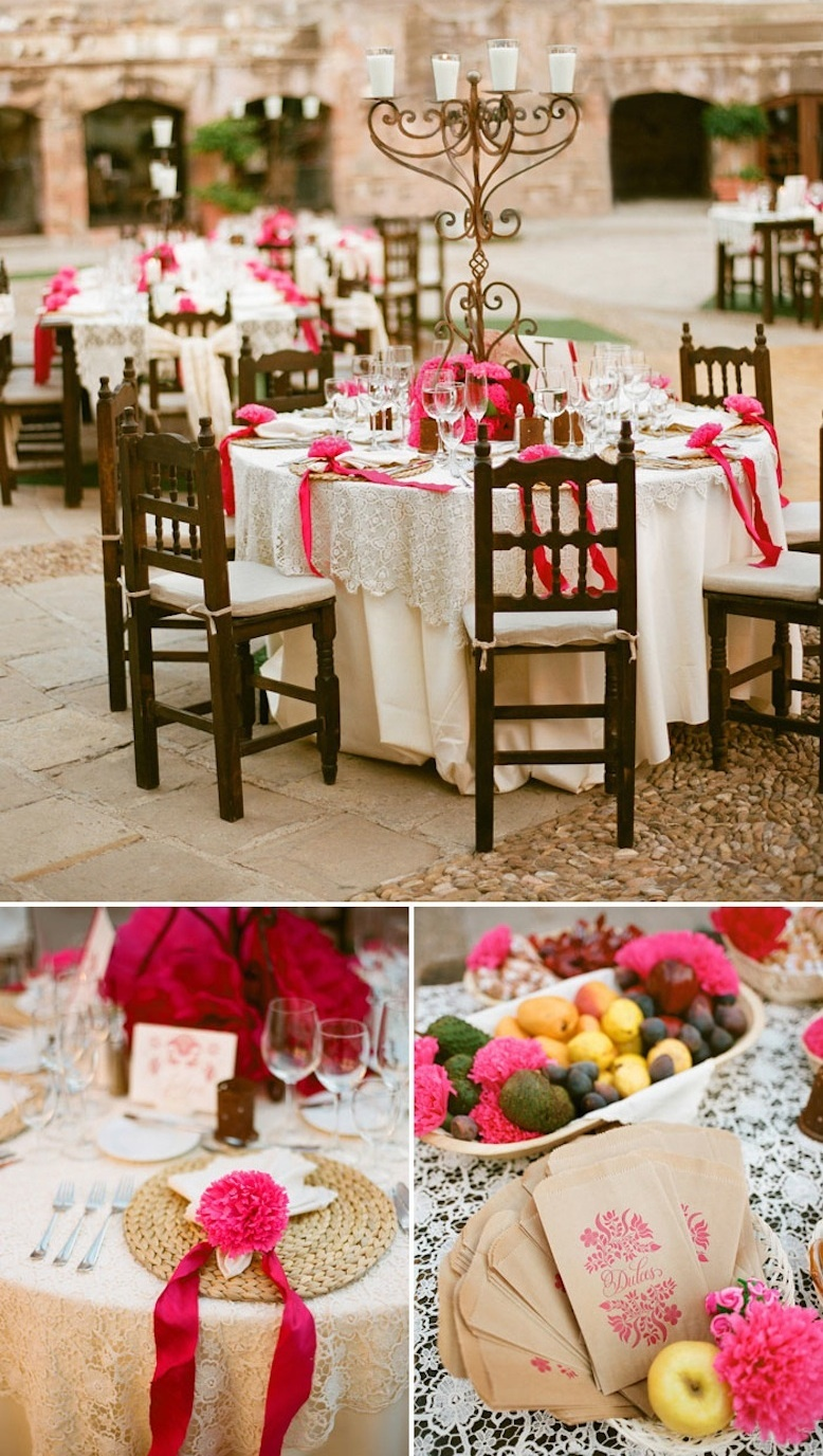 outdoor destination wedding reception hot pink and cream