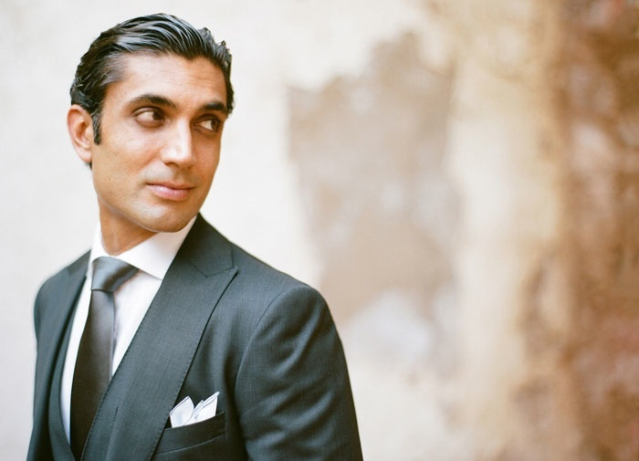 Stylish groom at destination wedding in Mexico