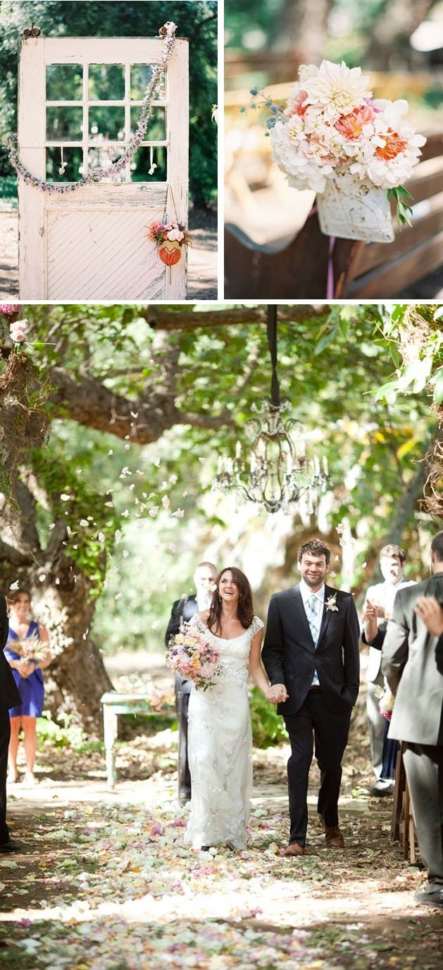 Enchanted outdoor wedding ceremony aisle