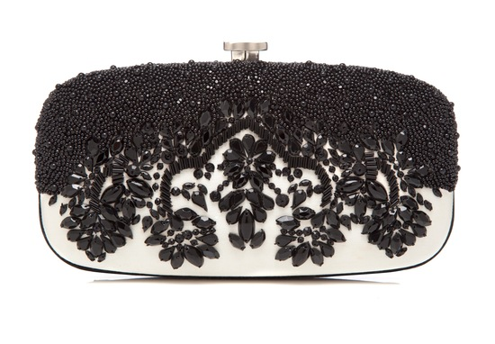black and ivory beaded bridal clutch