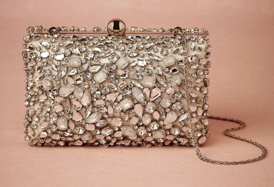 Beaded With Tulle Glam Bridal Clutch