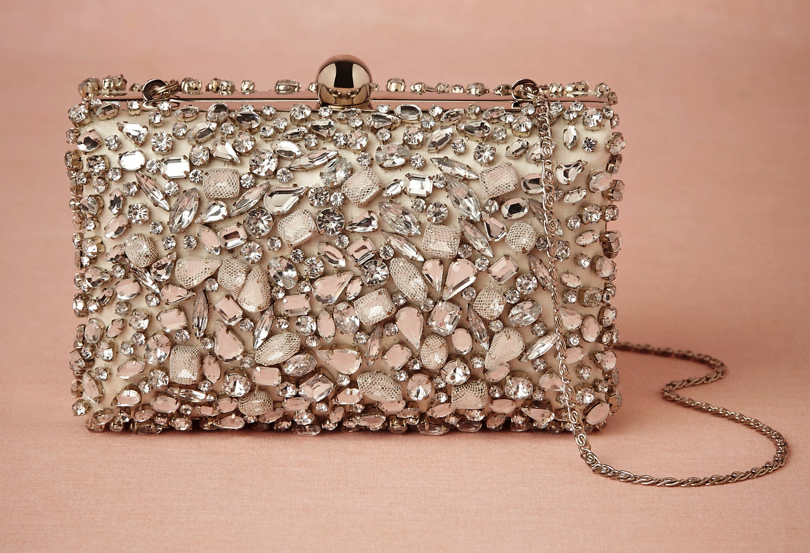Beaded With Tulle Glam Bridal Clutch Onewed Com