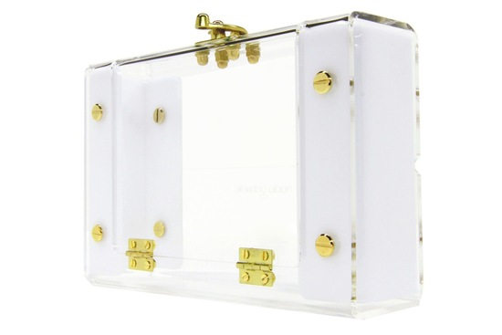 Clear Acrylic Bridal Clutch With Gold Accents
