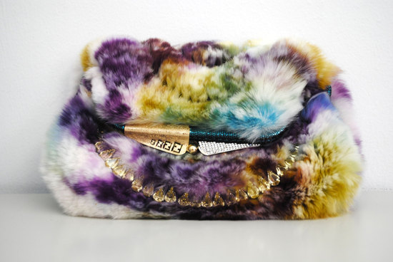 colorful fur fendi clutch for daring brides
