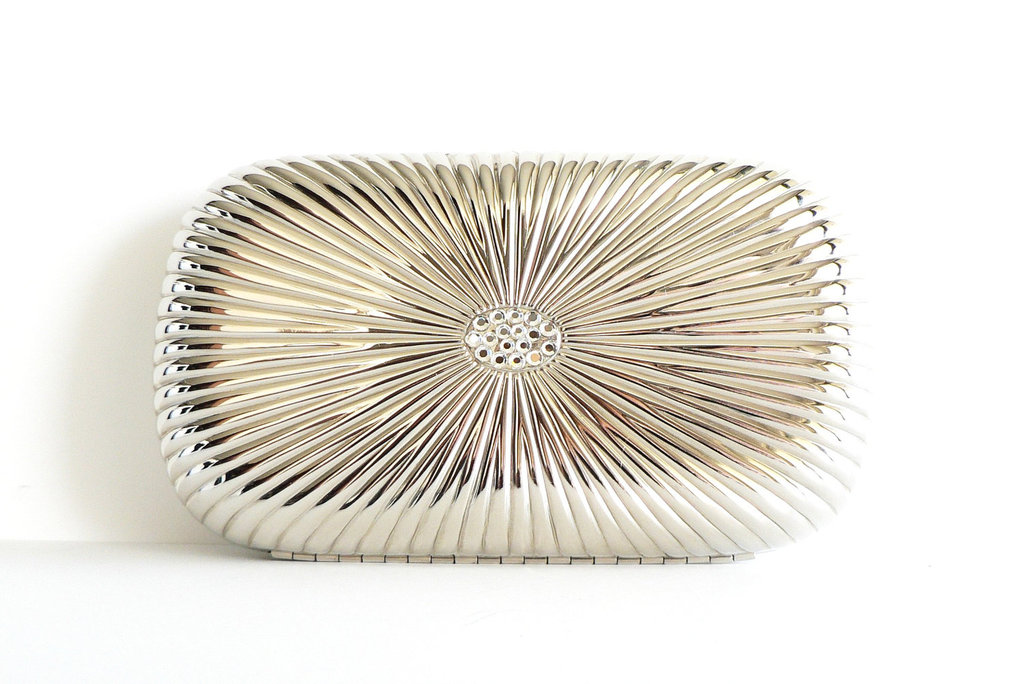 silver hardcase wedding clutch for vintage brides