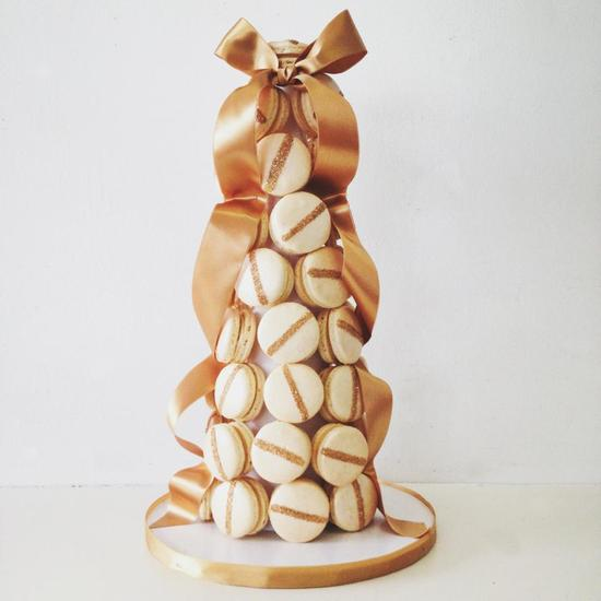 Gold And Ivory Macaron Tower For The Wedding